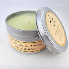 Oakmoss and Amber Soy Candle Open
