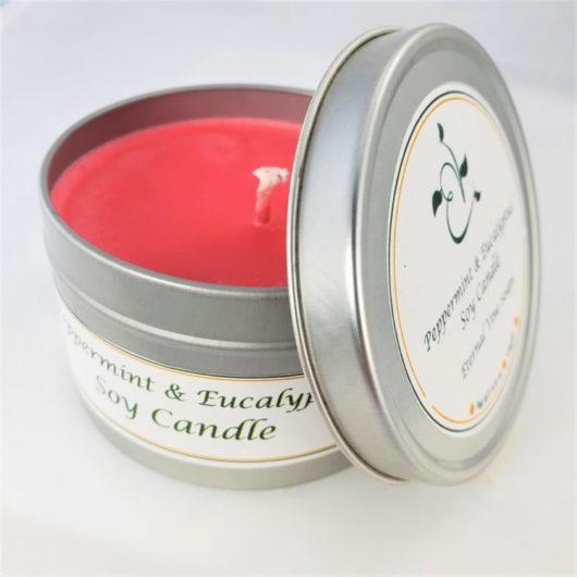 Peppermint and Eucalyptus Soy Candle Open